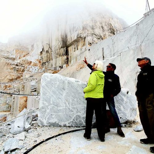 Tour of Carrara marble quarries. Tuscany, Italy.