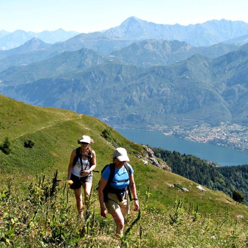 Hiking and walking tour on Lake Como. The Alps.