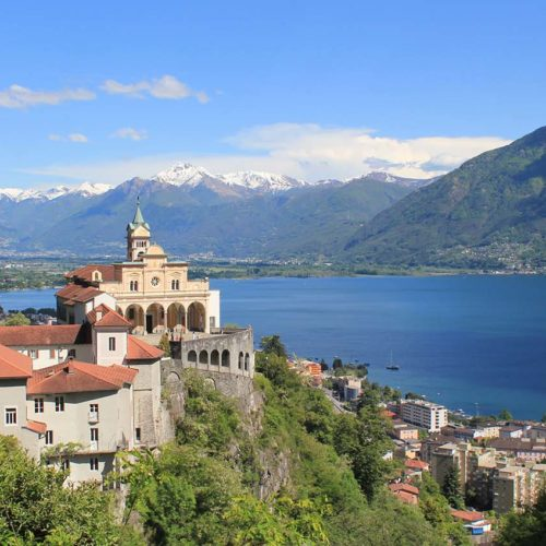 Lake Maggiore, Switzerland. Santuary of Madonna del Sasso, the Alps.