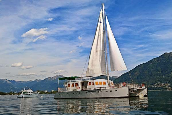 Sailing on Lake Maggiore, between Italy and Switzerland