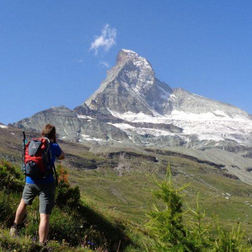 The Matterhorn is a regal presence while hiking above Zermatt. Swiss Alps