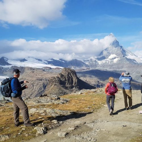 Hiking down from Gornergrat, the majestic Matterhorn is a sight to behold.