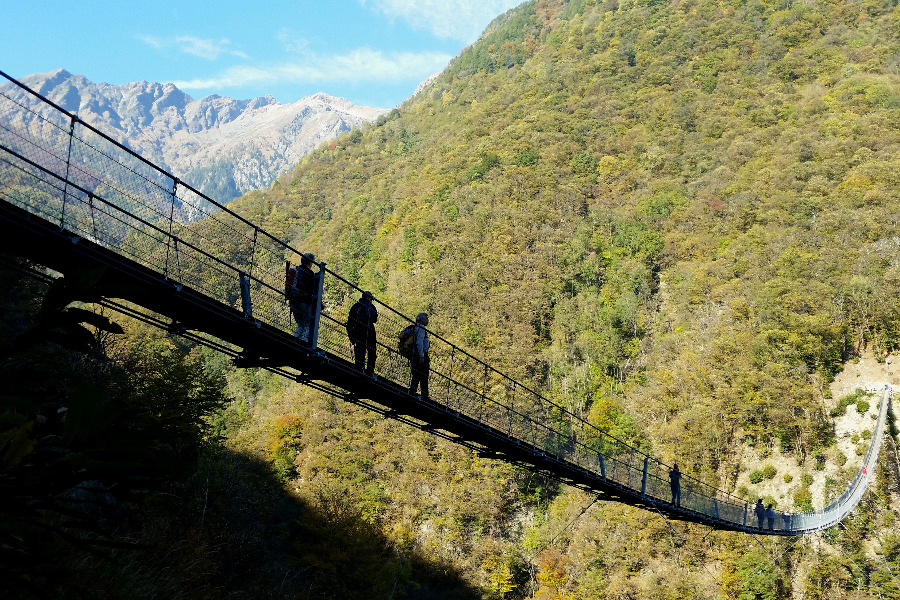 walking and hiking in ticino | suspension bridge